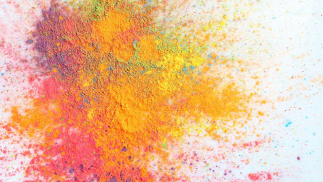 abstract colourful paint splash background powder