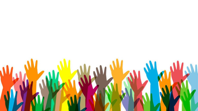 hands raised icons colourful background