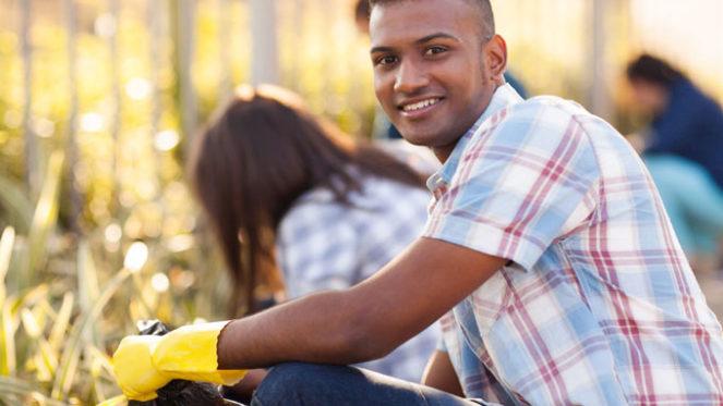 man gardening community