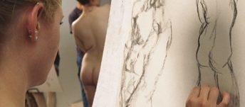 Woman Drawing Nude Figure
